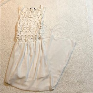 White lace pattern dress